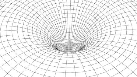 Tunnel o wormhole. Scienza astratta del wormhole. Griglia tunnel 3D. Tunnel di superficie 3D wireframe. Texture grigliaG Vettoriali