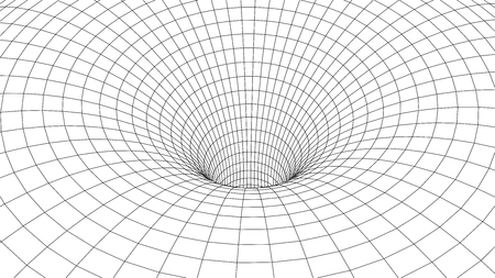 Tunnel or wormhole. Abstract Wormhole Science. 3D tunnel grid.Wireframe 3D surface tunnel.Grid texture Vettoriali