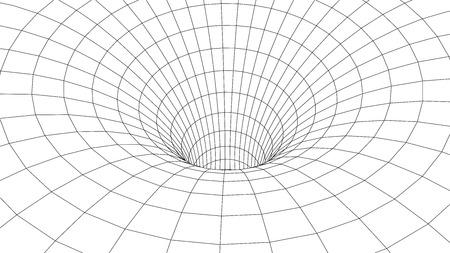 Túnel o agujero de gusano. Ciencia abstracta del agujero de gusano. Rejilla de túnel 3D. Túnel de superficie de estructura metálica 3D. Textura de rejilla Ilustración de vector