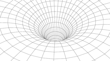 Tunnel or wormhole. Abstract Wormhole Science. 3D tunnel grid.Wireframe 3D surface tunnel.Grid texture Stok Fotoğraf - 123036111