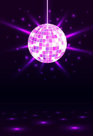 Fiesta nocturna. Fondo de bola de discoteca. Música de fiesta nocturna. Fondo de fiesta brillante. Círculo resplandeciente. Ilustración vectorial. Ilustración de vector