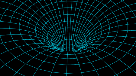 Tunnel or wormhole. Abstract Wormhole Science. 3D tunnel grid.Wireframe 3D surface tunnel.Grid texture Illustration