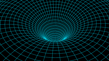 Tunnel or wormhole. Abstract Wormhole Science. 3D tunnel grid.Wireframe 3D surface tunnel.Grid texture