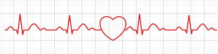 Icona di impulso del cuore. Cardiogramma. Elettrocardiogramma. Illustrazione vettoriale. Vettoriali