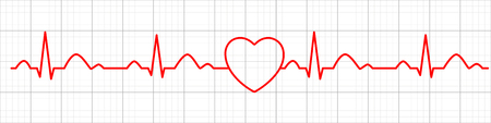 Icono de pulso de corazón. Cardiograma. Electrocardiograma. Ilustración vectorial. Ilustración de vector
