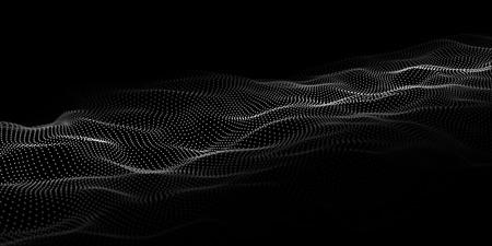 Tecnología de fondo oscuro. Vector de onda futurista 3d. Tecnología cibernética. Big data.