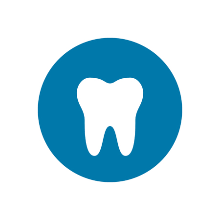 Tooth icon on blue background. Vector illustration.