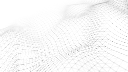 Abbildung der Datentechnologie. Abstrakter futuristischer Hintergrund. Welle mit verbindenden Punkten und Linien auf dunklem Hintergrund. Welle von Teilchen. Standard-Bild