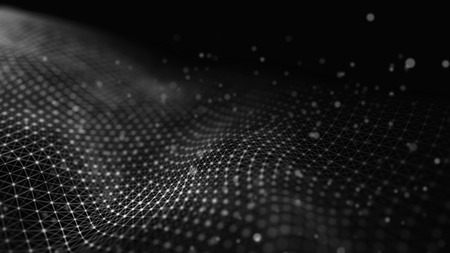 Data technology illustration. Abstract futuristic background. Wave with connecting dots and lines on dark background. Wave of particles. Zdjęcie Seryjne