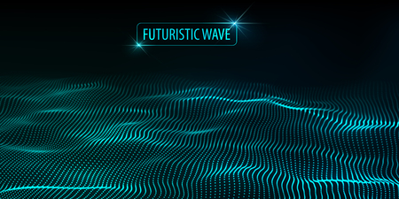 Wave of particles. Abstract background with a dynamic wave. Big data. Vector illustration. Illustration