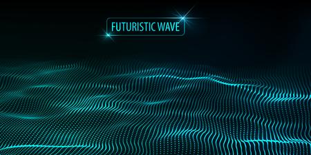Welle von Teilchen. Abstrakter Hintergrund mit einer dynamischen Welle. Große Daten. Vektor-Illustration.