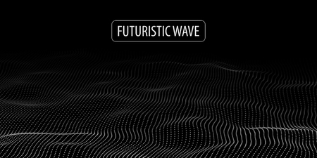 Wave of particles. Abstract background with a dynamic wave. Big data. Vector illustration. Ilustração
