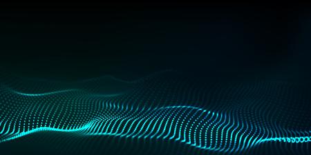 Big data. Futuristic technology blue background. Cyber technology. Technology background. Wave 3d. Ilustrace