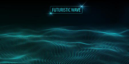 Big data. Futuristic technology blue background. Cyber technology. Technology background. Wave 3d. Ilustração