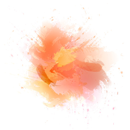 Abstract orange vector watercolor background. The color splashing in the paper. Illustration