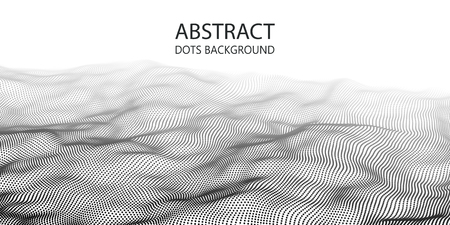 Wave of particles. Abstract background with a dynamic wave. Big data.