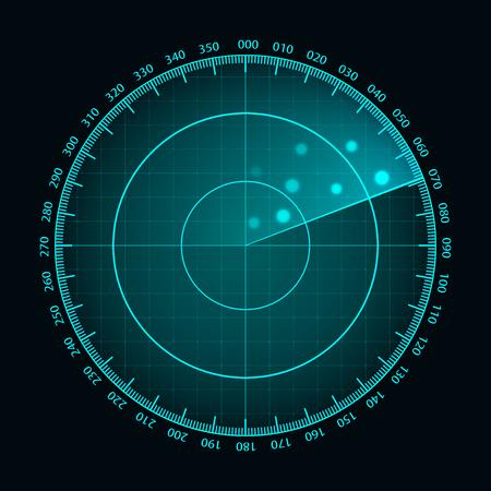 Pantalla de radar azul de vector. Pantalla de radar futurista HUD. Interfaz futurista de HUD.