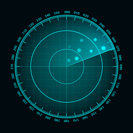 Vector blue radar screen. Futuristic HUD radar display. Futuristic HUD interface.
