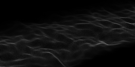 Data technology illustration. Abstract futuristic background. Wave with connecting dots and lines on dark background. Wave of particles. Ilustracja