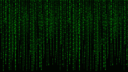 Cyfrowe tło zielone matrycy. Binarny kod komputerowy. Ilustracja wektorowa.