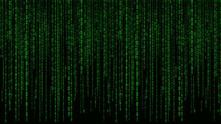 Matrice verte de fond numérique. Code informatique binaire. Illustration vectorielle.