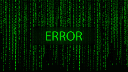 Computer screen error templates. Hacked. Cyber attack Digital background green matrix. Binary computer code. Vector Illustration.