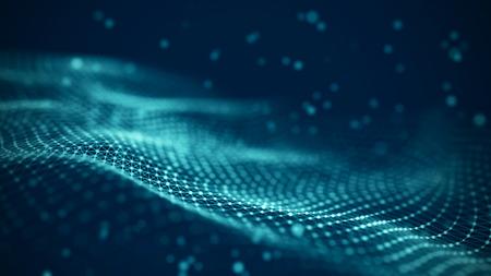 Ilustración de tecnología de datos. Fondo futurista abstracto. Ola con puntos y líneas de conexión sobre fondo oscuro. Ola de partículas. Foto de archivo