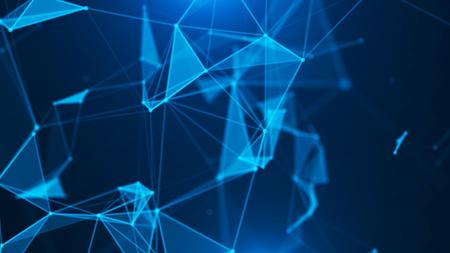 Abstrait numérique. Visualisation des mégadonnées. Structure de connexion réseau.