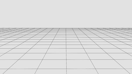 Fond de grille de perspective. Paysage filaire de vecteur abstrait. Fond de maille abstraite. Vecteurs