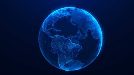 Global planet background. Global network planet Earth. World map point.