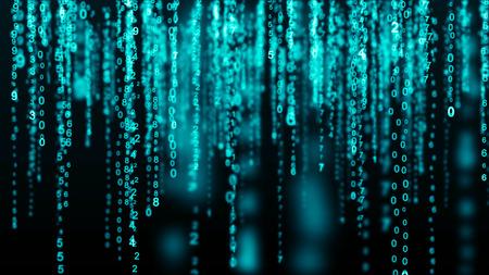 Digital background blue matrix. Binary computer code. Hacker concept.
