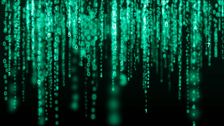 Digital background green matrix. Binary computer code. Hacker concept. Imagens