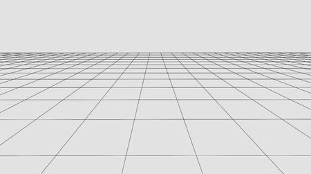 Fondo de cuadrícula de perspectiva. Paisaje de estructura metálica de vector abstracto. Fondo abstracto de malla. Ilustración de vector
