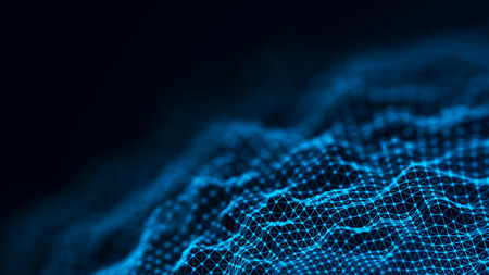 Abstract futuristic background. Wave with connecting dots and lines on dark background. Wave of particles.