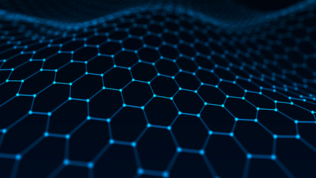 Abstract technology background. Artificial intelligence. Futuristic hexagon perspective background. Big data visualization. 3D rendering. Stock fotó