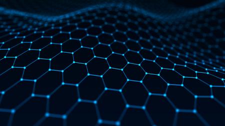 Fondo astratto di tecnologia. Intelligenza artificiale. Fondo futuristico di prospettiva di esagono. Visualizzazione di grandi dati. Rappresentazione 3D.