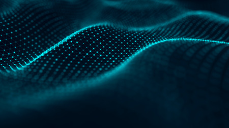 Abstract background with a futuristic wave. Big data. 3d rendering.