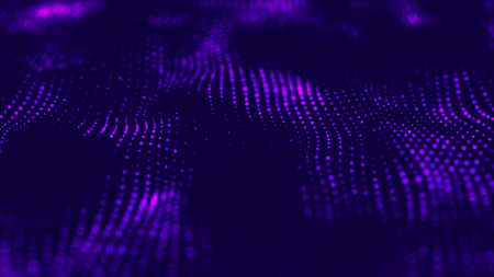 Abstract technology flow background. Futuristic dots background with a dynamic wave. Big data visualization. 3d rendering.