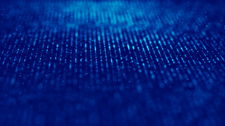 Wave of particles. Futuristic blue dots background with a dynamic wave. Big data.