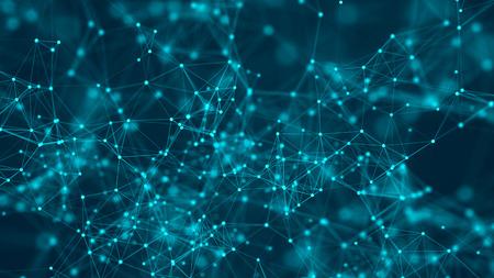 Abstrait numérique. Structure de connexion réseau. Formation scientifique. rendu 3D. Style de technologie futuriste. Banque d'images