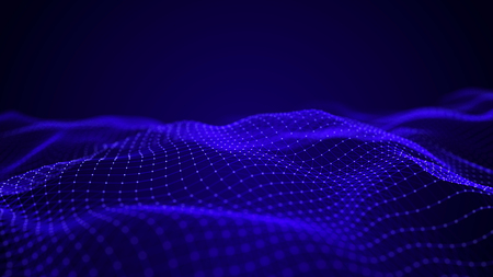 Blue futuristic wave. Abstract technology background. Science background. Big data digital background. 3d rendering.