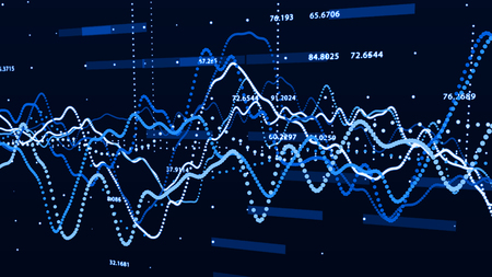 Stock market graph. Big data visualization and investment graph concept. 3d rendering.