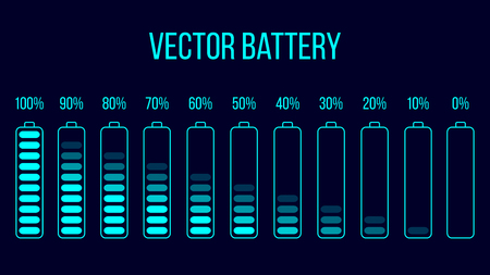 Vector battery icon. Gharged and discharged battery.