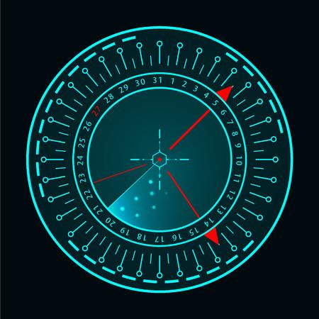 Écran radar bleu de vecteur. Système de recherche militaire. Affichage radar HUD futuriste. Interface HUD futuriste. Vecteurs