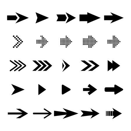 Vector arrow icon set. Black arrows collection. Illustration
