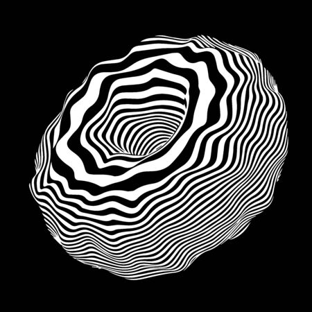 Movement lines illusion. Abstract wave whith black and white curve lines.