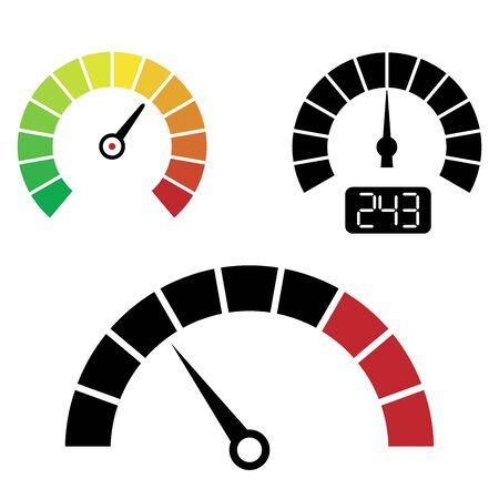 Vector speedometers on white background. Ilustrace