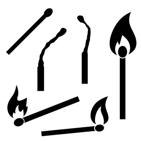 Burning and burnt matches. Isolated vector icons. 向量圖像