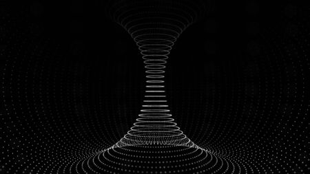 Dark tunnel or wormhole. Wireframe 3D surface tunnel grid. 3d rendering.