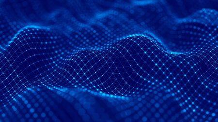 Wave of particles. Futuristic blue dots background with a dynamic wave. 3d rendering.